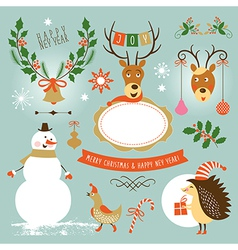 Set of Christmas and New Year s graphic elements vector image vector image