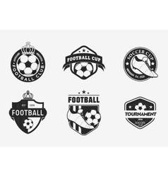 Set of vintage color football soccer championship vector