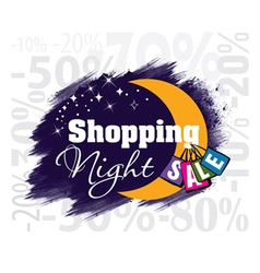 Shopping night sale moon vector