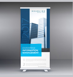 Simple blue standee roll up banner design with vector