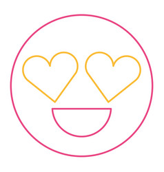 smile emoticon heart shape eyes love vector image