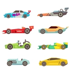 Sport racing car flat icons isolated on vector image vector image