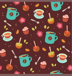 Tea and coffee cute seamless pattern vector