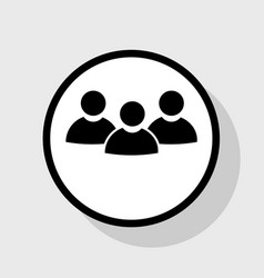 Team work sign flat black icon in white vector