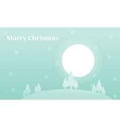 Tree and big moon winter christmas silhouettes vector