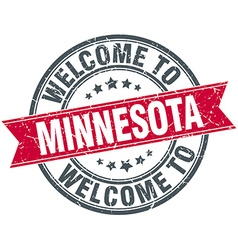 Welcome to minnesota red round vintage stamp vector