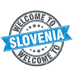 Welcome to slovenia blue round vintage stamp vector