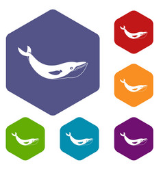 Whale icons set hexagon vector
