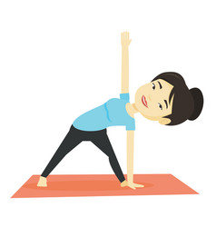 Woman practicing yoga triangle pose vector