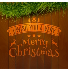 Wooden background typography merry christmas sign vector image