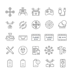Set Flat Line Icons Drones vector image