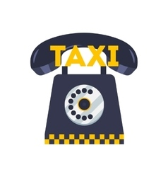 Taxi phone icon flat of cab booking vector