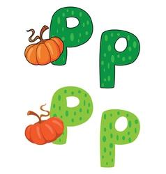 letter P pumpkin vector image