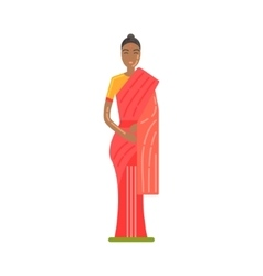 Woman in national costume wearing red sari famous vector