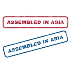 Assembled in asia rubber stamps vector