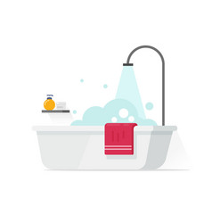 Bathtub with foam bubbles and shower vector
