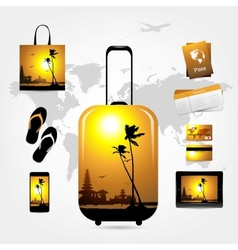 Travel suitcase with trip things tropical style vector image