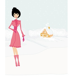 Fashion winter girl on winter landscape vector