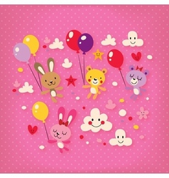 Cute bunnies and bears vector