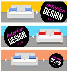 Banners with sofa set vector