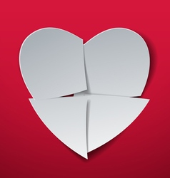Valentines day heart cut from paper vector
