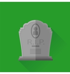 Grey gravestone isolated on green background vector