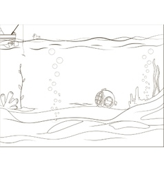 Educational game coloring book underwater life vector