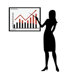 Silhouette woman showing presentation vector