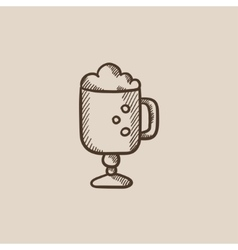 Glass mug with foam sketch icon vector