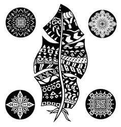 Feather and mandalas vector image