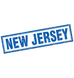 New jersey blue square grunge stamp on white vector