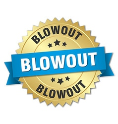 Blowout 3d gold badge with blue ribbon vector