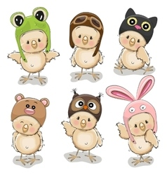 Six cute chicks vector image