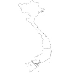 Black White Vietnam Outline Map Royalty Free Vector Image - Vietnam map outline