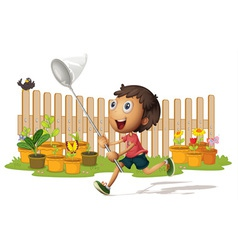 boy catching butterflies vector image