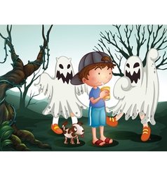 A boy and his pet at the graveyard with ghosts vector