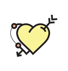 Arrow on twins heart icon yellow vector
