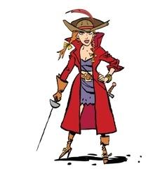 Beautiful young woman pirates vector image vector image