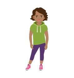 Black girl in green hoodie vector