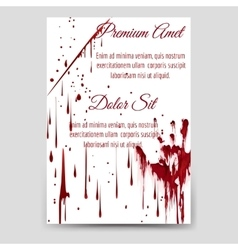 Bloody drops and handprint flyer template vector