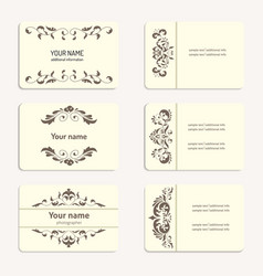collection vintage business card vector image vector image