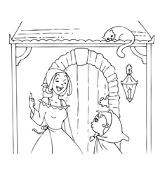 Coloring Red Riding Hood and mom 2 vector image vector image