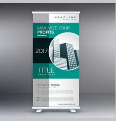 corporate green modern standee roll up banner vector image