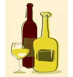 different wine bottles and gla vector image