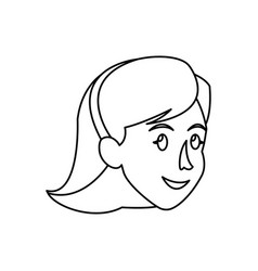 Face woman head short hair smile outline vector