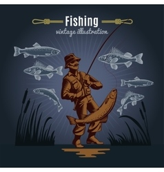 Fishing gear vintage background vector