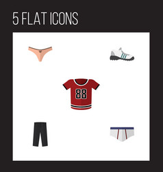 Flat clothes set of sneakers underclothes t vector