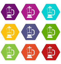 french press coffee maker icon set color vector image vector image