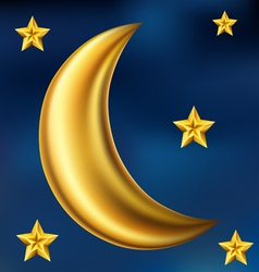 Gold moon and stars vector image vector image