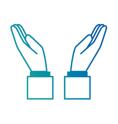 Hands human protecting icon vector